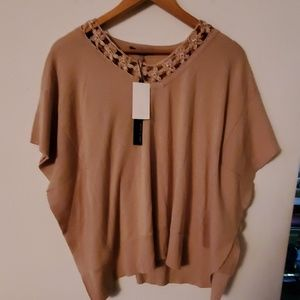 Cable & Gauge NWT Tan Open Sleeves Blouse - S